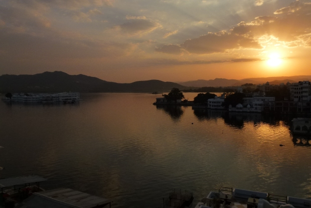 A sunset view of Lake Pichola from our hotel rooftop.