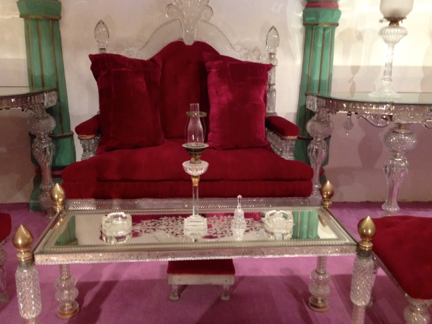 "A crystal love seat and ""coffee"" table."