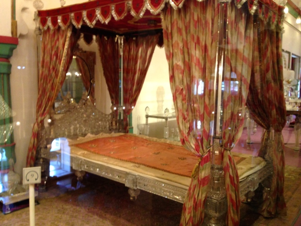 A crystal canopy bed.