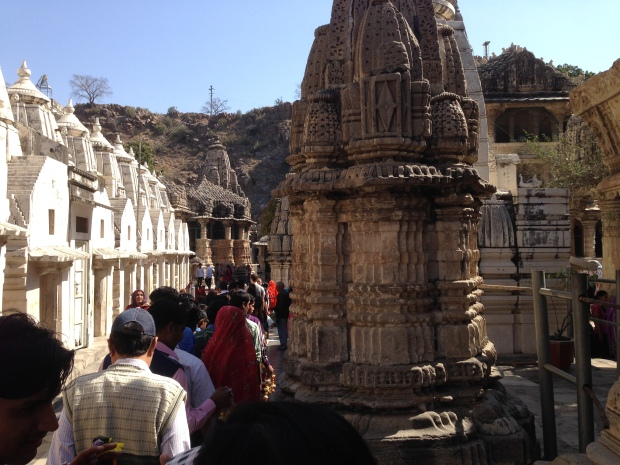 Entering the Eklingji temple complex with worshippers.