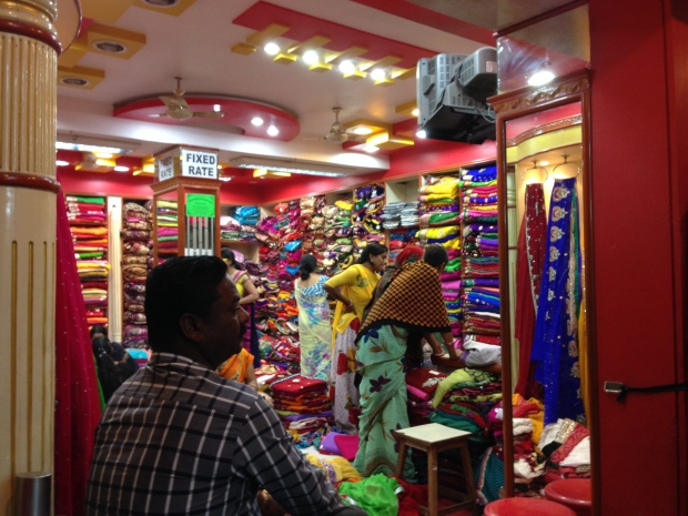 A colorful textile store in Udaipur.