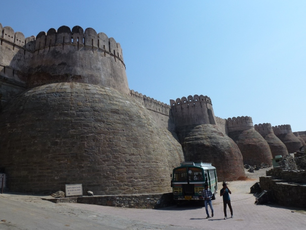 A view of Kumbahlgarh's massive and imposing walls from the outside.