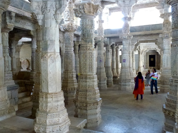 A view of one of the many halls in the temple. Note the column carvings.