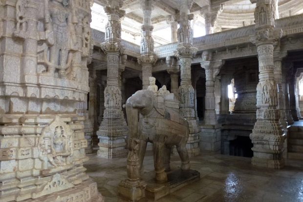 An elephant carving in Ranakpur.