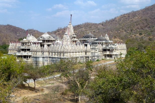 Ranakpur as viewed from a nearby hill. The vast size becomes more apparent from this angle.