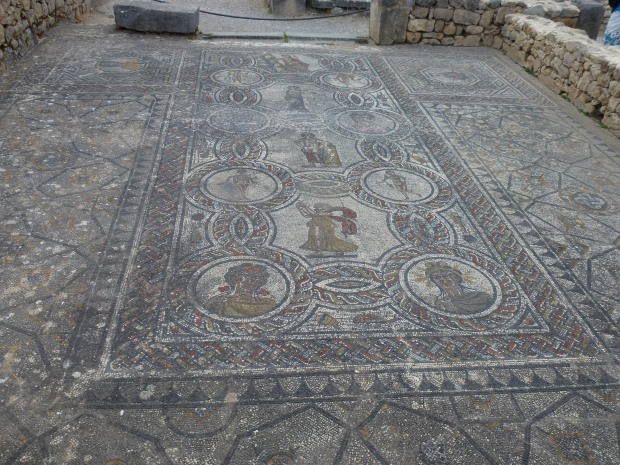 "A mosaic floor of ""Dionysos and the Four Seasons""."