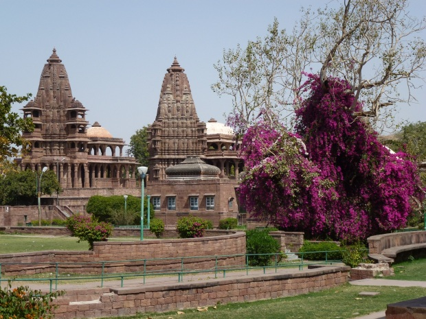A view of Mandore with the shrines, temples and gardens.