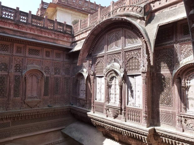The intricate lattice stone work can be seen in this photo.