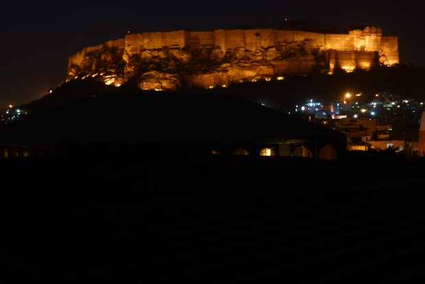 A view of Mehrangarh Fort from our hotel rooftop restaurant.