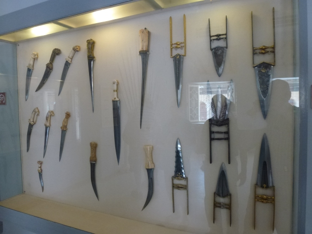Display of daggers and other formidable weapons.