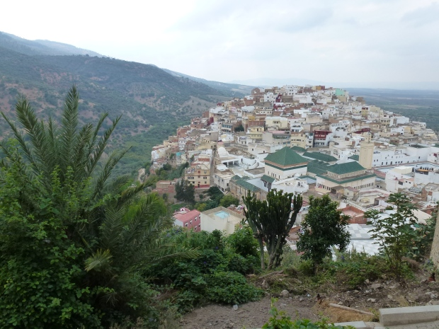 A view of Moulay Idriss. The large green roofs indicate the Mausoleum of Moulay Idriss.