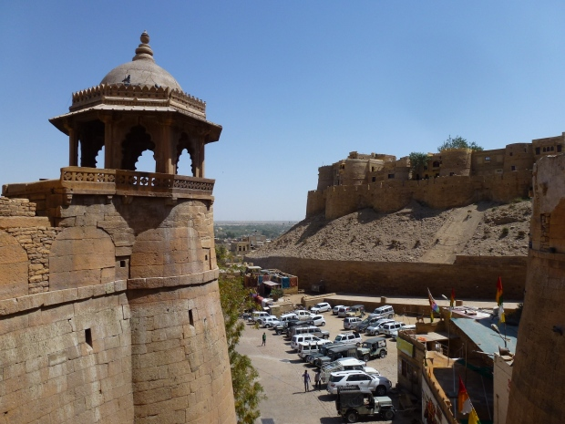 A view of the walls and towers of Jaisalmer Fort.
