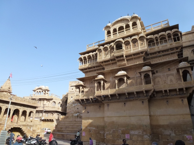 This is the Jaisalmer Fort Palace - it is worth touring, not only for the interior views but also the views of the old fort city from its upper levels.
