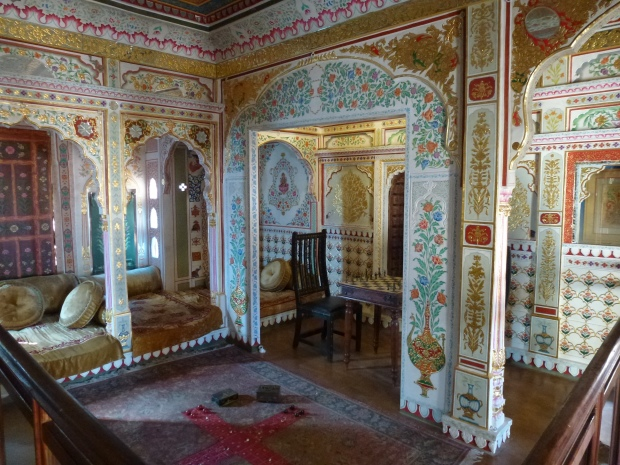 One of the richly decorated rooms in the Haveli.
