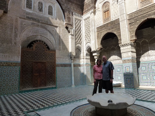Another view of the courtyard of Medersa el Attarine showing the tile work.