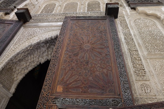 Detail of the intricate carvings at Medersa Bou Inania.