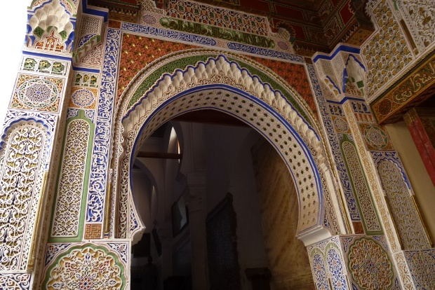 The entrance to the tomb of Moulay Idriss II, a holy site in Islamic culture. He was the son of the founder of Fez and lived in the 9th century. He established Fez as a place of refuge for muslims retreating from Spain and other places.
