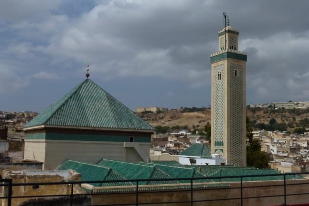 A view of Moulay Idriss II's tomb from the roof top of a local's home we visited.