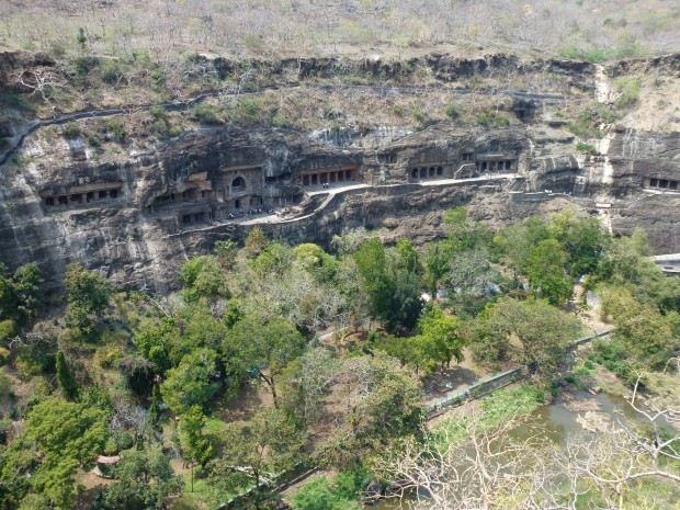 A view of some of the Ajanta caves from the hill above the river. Similar to the view the British hunting party would have seen.