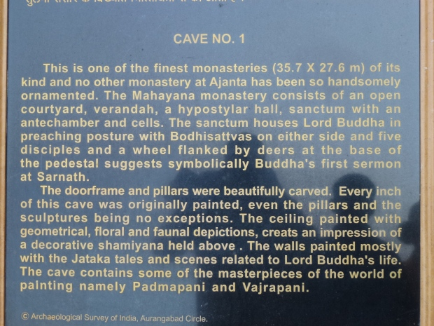 An example of the plaques outside each cave.