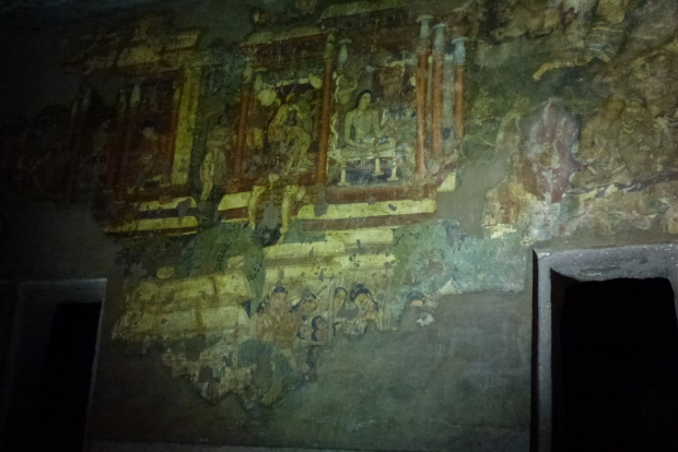 Interior view of Cave #1 with its tempera decorations. Amazing to think that these paintings are almost 2,000 years old.