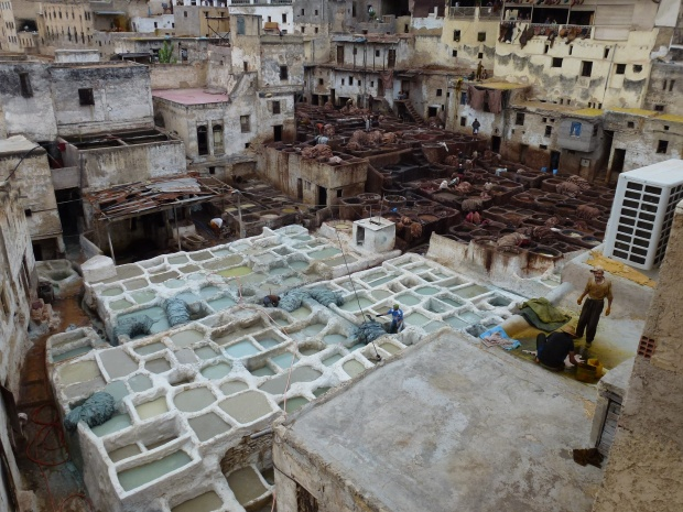 An overlook of Chouwara Tanneries. The white vats in the foreground contain pigeon dung, used to clean the skins.