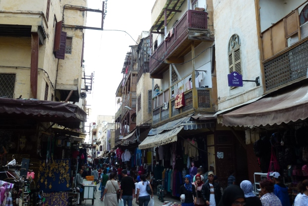 A view of a main street in the Jewish Quarter, known as Mellah (