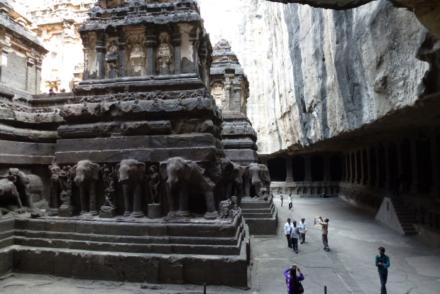 One more view of Kailasa Temple - the people around the base give an indication of the enormous size.