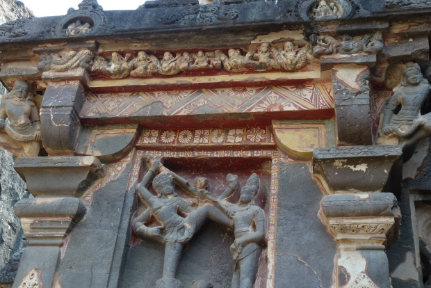 A detail of Kailasa Temple showing some of the original paint decorations.