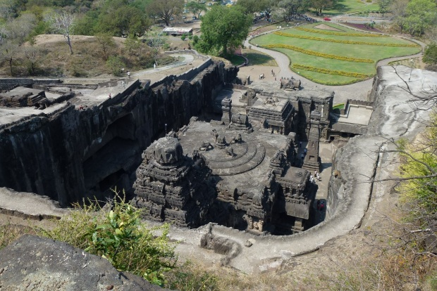A view of the Kailasa Temple from above - imagine just a rock hillside and starting to hammer and chisel away at the rock with this beautiful structure in mind.
