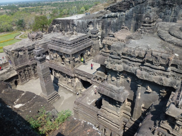 A closer look at Kailasa Temple from above.