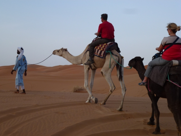 Riding our camels into the dunes.
