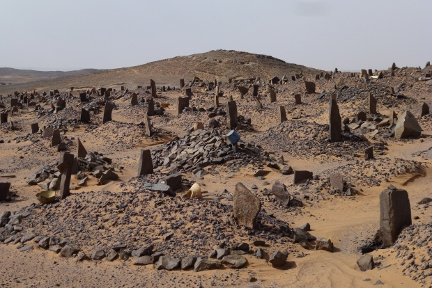 A berber grave yard. No names, but the gender is determined by the placement of the headstones.