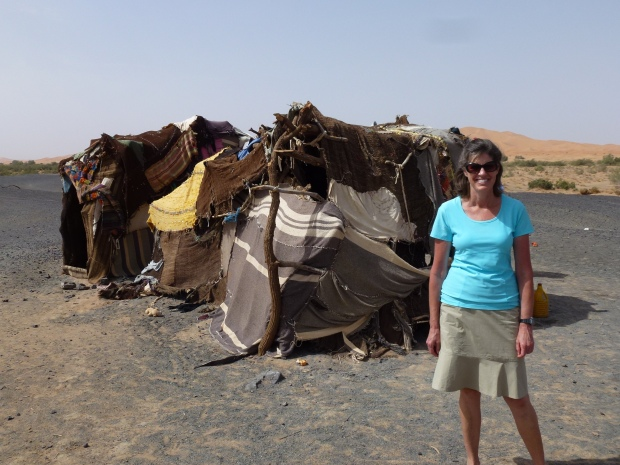 A berber camp in the desert.