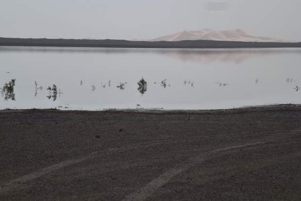 Not a mirage - an actual lake in the desert. They had some rain recently. It's several feet deep.