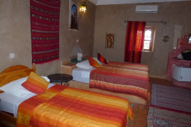 Our room in Merzouga - very comfortable, with adobe-type walls and tile floor.