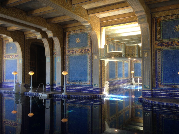 The indoor Roman pool, located underneath the tennis courts. There are more than a million Murano glass tiles here, some with a layer of gold leaf inside. The pool is 81 ft. long.