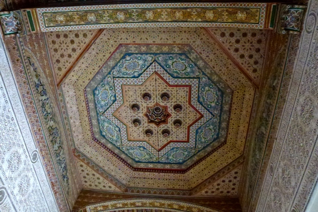 One of the many beautifully decorated ceilings in Bahia Palace.