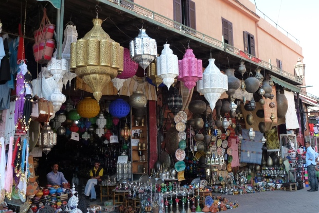 You have your choice of lamps at this shop in Marrakech's Medina.