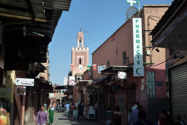 A street scene in the Medina of Marrakech.