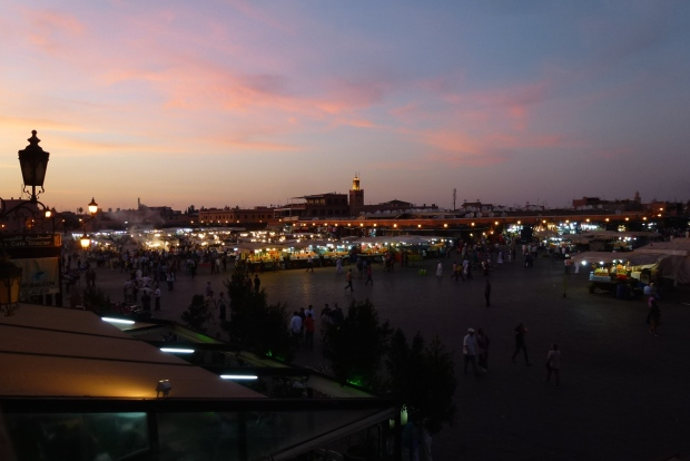 Sun setting over the Jemaa el Fna.