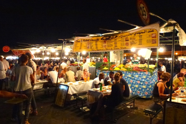 Food stalls in Jemaa el Fna.