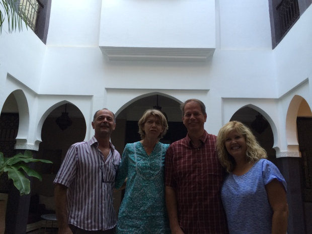 Our lovely French hosts and traveling companions in Marrakech, in the courtyard of their riad.