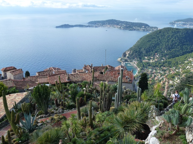 A view of Eze and the coast from the gardens right above the village, where a castle once stood.