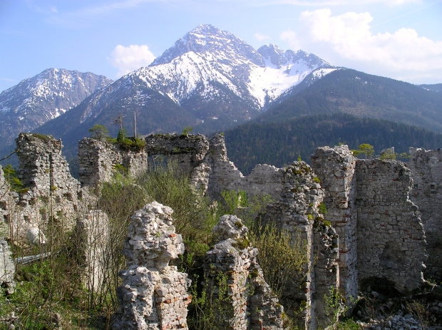 The ruins of Ehrenberg Castle and surrounding countryside.