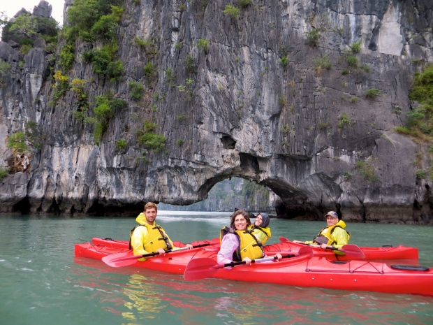 Kayaking in Ha Long Bay, Vietnam.